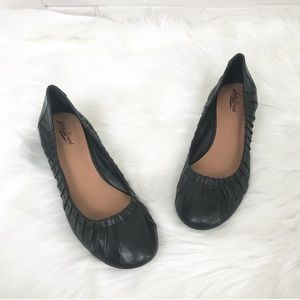 {Lucky Brand} Leather Black Wedge Flats